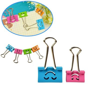 10PC 25/19mm Random Colored Smile Metal Binder Clips For Notes Letter Paper Books Home Office School File Paper Organizer