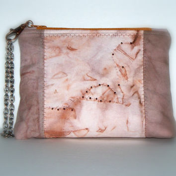 Hand dyed and rusted Wristlet clutch- Neutral colors - Zippered Pouchette  - OOAK Clutch