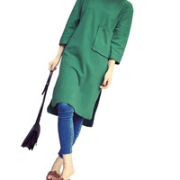 3/4 Sleeve Solid Color Basic Dress with Front Pocket