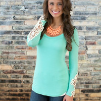 Green Long Sleeve with Crochet Patch Top