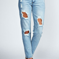 Adriana Distressed Bleach Relaxed Skinny Jeans
