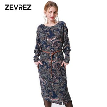 Fashion Winter Midi Print Dress Women Long Sleeve Slits Pattern Elegant Vintage Ladies Casual Party Dresses Zevrez