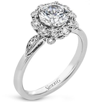 Simon G. Flower Motif Halo Diamond Engagement Ring