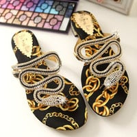 Twisted Full Rhinestone Snake Flip-Flops