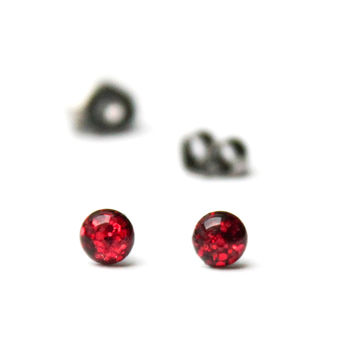 Tiny stud earrings with ruby red chunky glitter, sparkly post earrings - hypoallergenic surgical steel stud earrings - 4mm