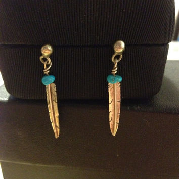 Navajo Turquoise Feather Earrings Sterling Silver 925 Genuine Blue Vintage Tribal Native American Zumi Hopi Southwestern Jewelry Boho Gift
