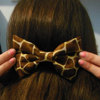 Giraffe Print Big Hair Bow with French Barrette
