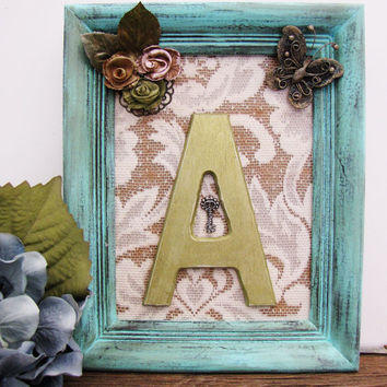Green Letter A Wooden Letter Initial Shabby Chic Nursery Decor