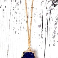 With Love From CA Long Druzy Necklace - Womens Jewelry - Gold - NOSZ