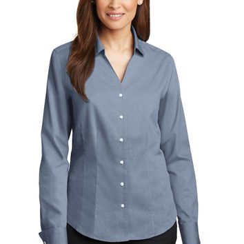 Red House - Ladies French Cuff Non-Iron Pinpoint Oxford Shirt. RH63