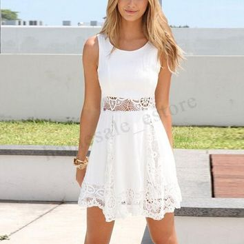 Women Summer Beach Sundress Lace Crochet Tunic Evening Party Skater Dress Plus