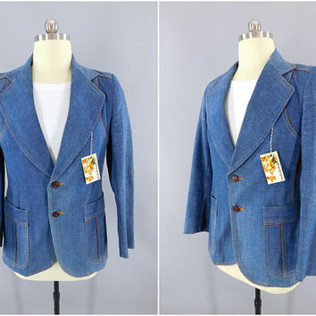 Vintage 1970s Denim Blazer / 70s Jean Jacket Sport Coat / Western Cowboy Ranch Style / Denim Jacket / Size 40
