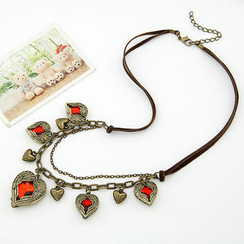 Retro Angel Heart Leather Cord Necklace, Women's Retro Style Accessory, Party Jewelry, Birthday Gift, Handcrafted Jewelry 11051151
