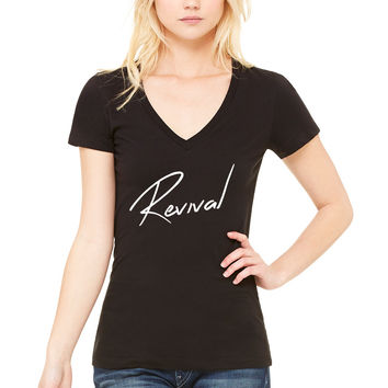 "Selena Gomez ""Revival"" Thin V-Neck T-Shirt"
