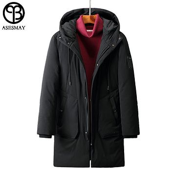 Asesmay Brand Clothing Men Winter Jacket Hooded Long Men's Down Jackets Parka Goose Feather Jacket Thick Mans Duck Coats Snow