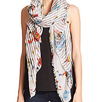 Franco Ferrari - Striped Flower Modal & Cotton Scarf - Saks Fifth Avenue Mobile