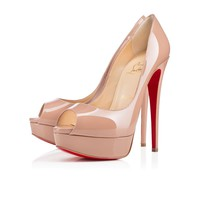 Christian Louboutin Cl Lady Peep Nude Patent Leather 150mm Stiletto Heel Classic
