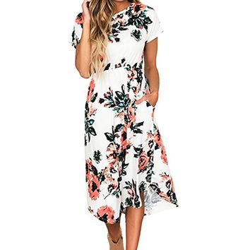 Floral Print Vintage Long Dress Women Short Sleeve O-neck Beach Summer Dresses Casual Loose Party Dress Sundress GV785b