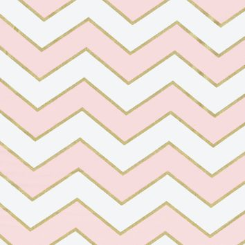 Gold Glitter Chevron in Pink Designer Fabric by the Yard   100% Cotton