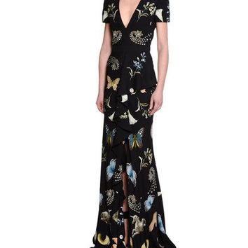 Alexander McQueen Obsessions Short-Sleeve Gown, Black/Mix