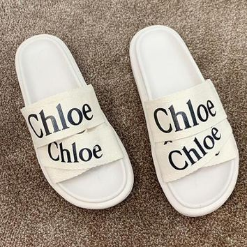 Chloe Fashion Women Casual Flat Sandal Slippers Shoes Beige White