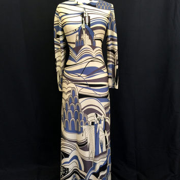 Vintage 1970's Maxi Dress 70's does 30's Art Deco inspired Pat Richards Novelty Dress Rhinestones Blue Black Ivory Size Medium Large 13 14