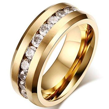 8mm Titanium Stainless Steel Gold Wedding Ring Channel Set Cubic Zirconia Engagement Band Matte Finish