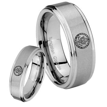 His Hers U.S. Army Step Edges Brushed Tungsten Men's Wedding Band Set