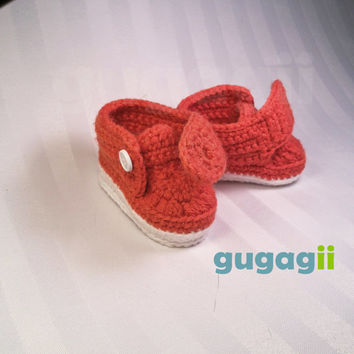 Pumpkin Orange, Crochet Baby Shoes, Crochet Baby Booties, Crochet Baby Sneakers, Baby Footwear, infant baby booties, Baby Boy Shoes, Booties