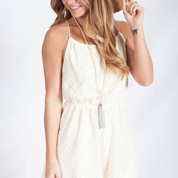To A T Cream Tassel Playsuit