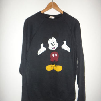 Mickey Mouse Sweatshirt 1980s Vintage Sweater Jumper Steam Punk Rock Stoner