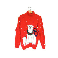 Ugly Christmas Sweater Retro Xmas Wool Polar Bears Red Popcorn Knit Sweater 1990s Winter Holiday Novelty Vintage Turtleneck Party Winner
