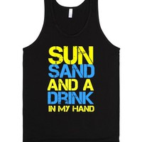 Sun Sand and a Drink in my Hand-Unisex Black Tank