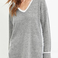 Grey V-neck Side Split Jumper