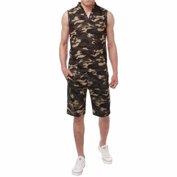 2018 New Arrival Men Sets Summer Army Camouflage Tank Top Casual Slim Tops Unisex Sleeveless Outwear Plus Size S-3XL