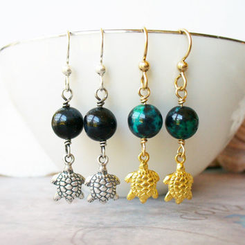 Turtle Earrings, Sea Turtle Charm Earrings, Sterling Silver with Dark Blue Tigereye or Gold Vermeil with Green Blue Chrysocolla