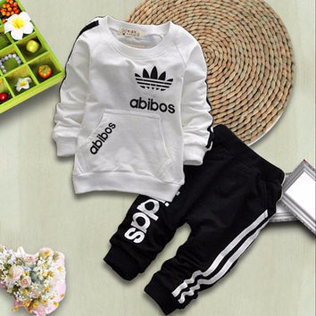 Fashion Spring Autumn Baby Boys Girls Cotton Full-sleeved Jacket+pants 2pcs/sets Boys Tracksuit Kids Clothing Set Baby Set