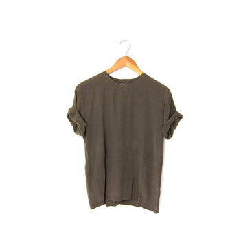 vintage army green silk tshirt. short sleeve silk shirt. minimalist modern top. cropped silk blouse.