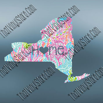 New York Heart Home Decal | I Love New York Decal | Homestate Decals | Love Sticker | Preppy State Sticker | Preppy State | 072