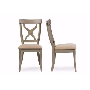 Balmoral Chic Country Cottage Distressed Grey X-Back Dining Side Chair (Set of 2) By Baxton Studio