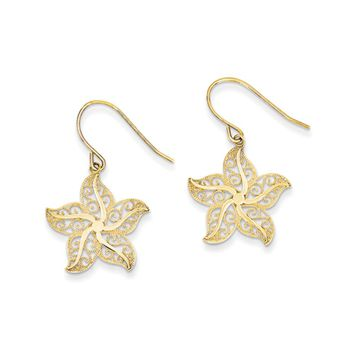 19mm Filigree Starfish Dangle Earrings in 14k Yellow Gold