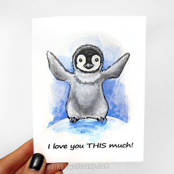 Baby Penguin Card, I Love You THIS Much, Personalized Card, Valentines Day, Anniversary Card, Thinking of You, Bird Art Print