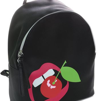 Cherry Lips Black Backpack Purse Women's Vegan Leather