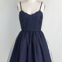 Short Length Spaghetti Straps Ballerina Navy Too Late Dress