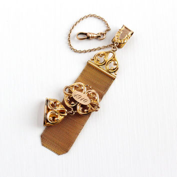 Antique Edwardian Rosy Yellow Gold Filled Pocket Watch Chain Fob - Vintage Mesh Initial Seal Charm Dated 1910 Swivel Clip A&Z Co Jewelry