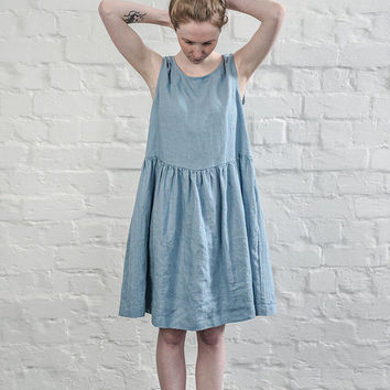 Linen dress. Swedish blue  linen loose dress