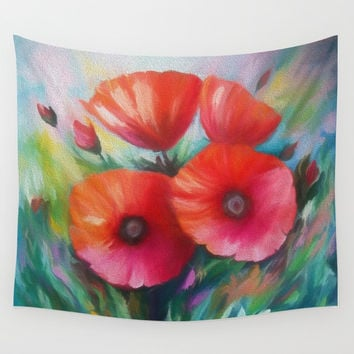 Poppies Wall Tapestry by Lena Owens/OLenaArt