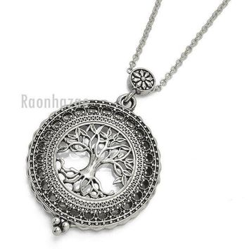 CREYONRC New Silver 5X Magnifying Glass Tree of Life Pendant 31' Chain Necklace SJ045S