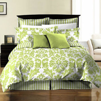 8pcs Damask Stripe Printed Reversible Comforter Sheets Bed in a Bag Set Queen