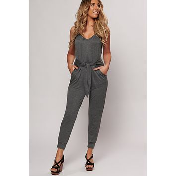 Even Better Than Your Birthday Jumpsuit (Charcoal)